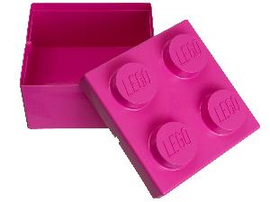 Пластикова коробка в формі кубика Лего  рожева